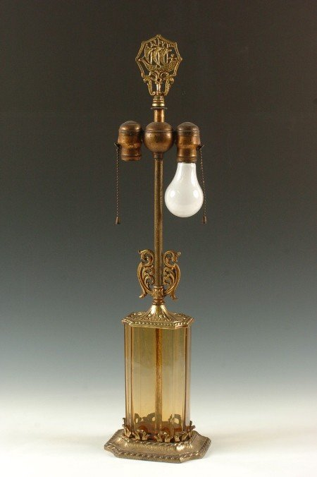 HIGH QUALITY 1920'S TABLE LAMP WITH ART GLASS