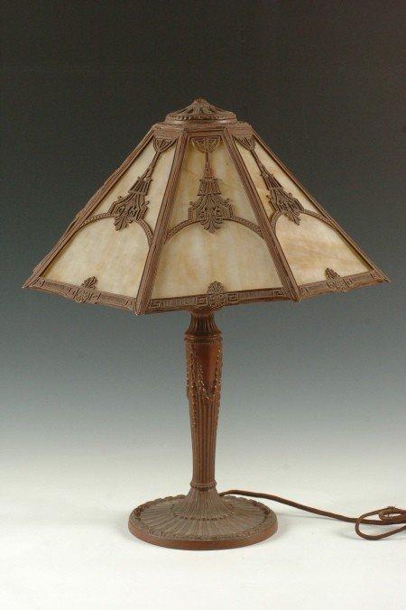 CIRCA 1920 SLAG GLASS PANEL LAMP