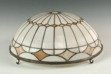 A LEADED SLAG GLASS CHANDELIER DOME