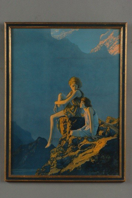 AN ORIGINAL MAXFIELD PARRISH PRINT, 'CONTENTMENT'
