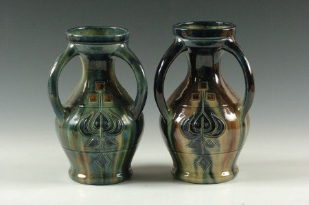 TWO CARVED ARTS AND CRAFTS POTTERY VASES