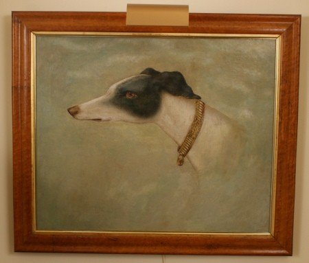 9: 19TH C. OIL ON CANVAS PORTRAIT OF A WHIPPET DOG
