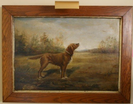 10: CIRCA 1900 OIL ON CANVAS PORTRAIT OF HUNTING DOG
