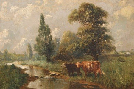 14: 19TH C. PASTORAL OIL ON CANVAS IN WIDE BIRD'S EYE F