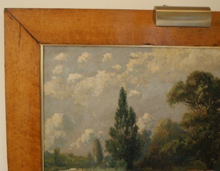 14: 19TH C. PASTORAL OIL ON CANVAS IN WIDE BIRD'S EYE F - 3
