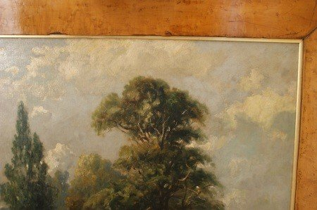 14: 19TH C. PASTORAL OIL ON CANVAS IN WIDE BIRD'S EYE F - 4