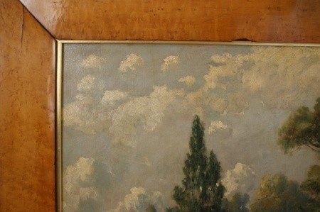 14: 19TH C. PASTORAL OIL ON CANVAS IN WIDE BIRD'S EYE F - 5