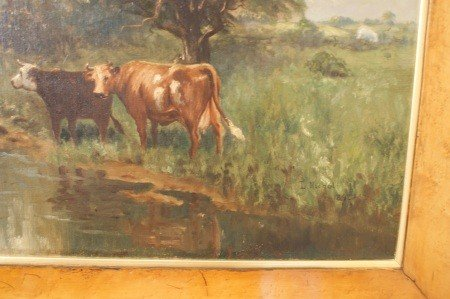 14: 19TH C. PASTORAL OIL ON CANVAS IN WIDE BIRD'S EYE F - 6