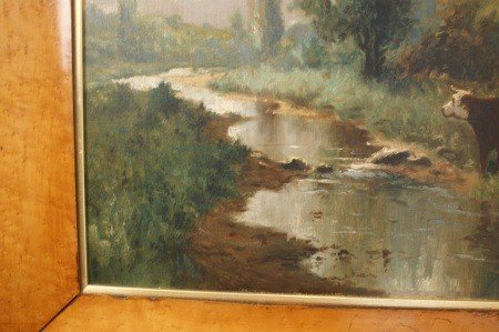 14: 19TH C. PASTORAL OIL ON CANVAS IN WIDE BIRD'S EYE F - 7