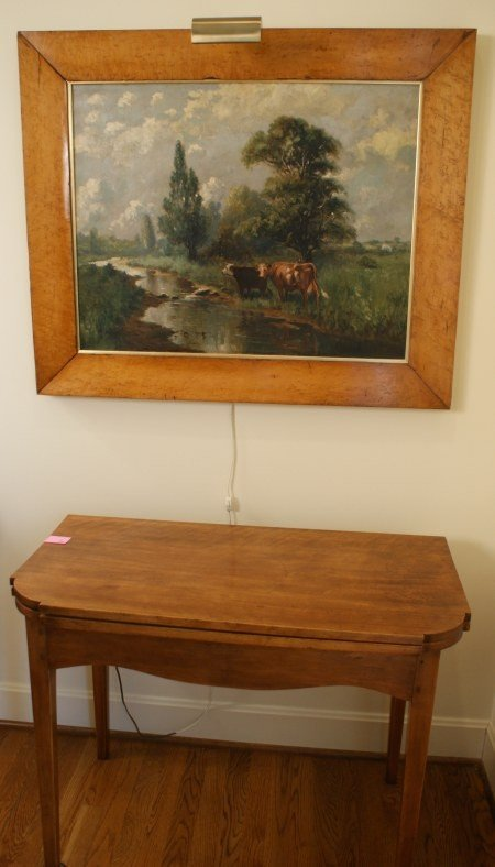 14: 19TH C. PASTORAL OIL ON CANVAS IN WIDE BIRD'S EYE F - 8