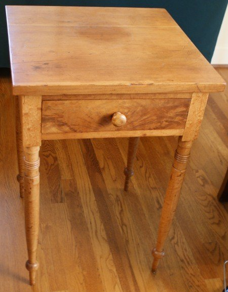 16: 19TH C. CHERRY STAND TABLE WITH FIGURED MAPLE LEGS