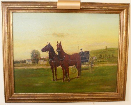17: 19TH CENTURY FOLK ART OIL OF HORSE AND DRIVER