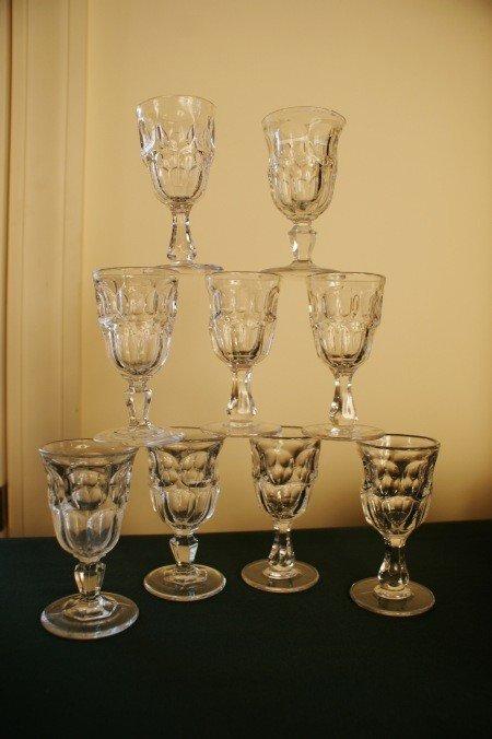 19: NINE  ASHBURTON  PATTERN 19TH C. FLINT GLASS WINES