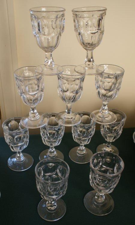 20: ELEVEN ASHBURTON  PATTERN19TH C.  FLINT GLASS WINES