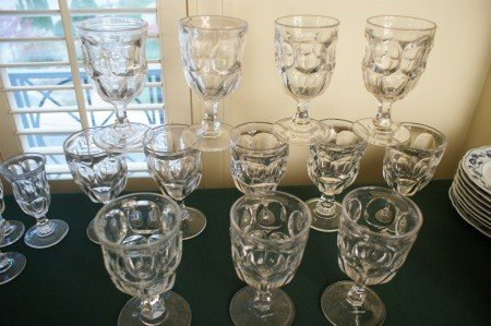 21: TWELVE ASHBURTON  PATTERN 19 C. FLINT GLASS GOBLETS