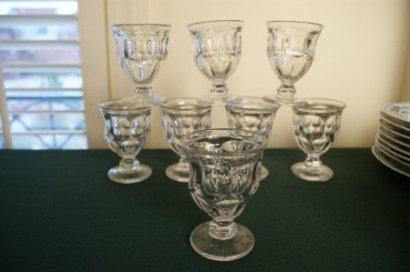 22: EIGHT  ASHBURTON  PATTERN FLINT GLASS STEMS