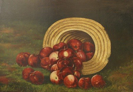 24: APPLES IN STRAW HAT PAINTING BY  J. THEO CHILDS 188