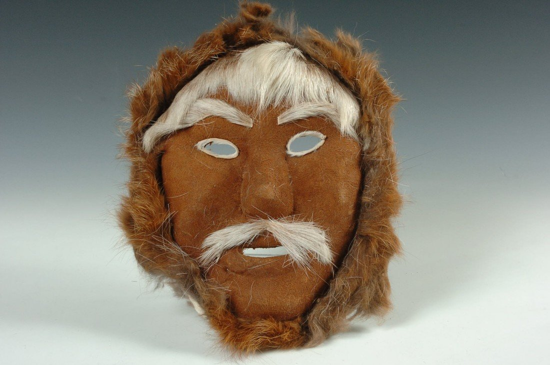 ESKIMO REINDEER HIDE MASK BY MARGARET SHELDON