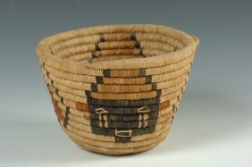 HOPI BASKET WITH KACHINA DESIGNS