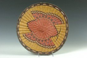 HOPI BASKETRY PLAQUE WITH BUTTERFLY BY LOIS NAVAKU