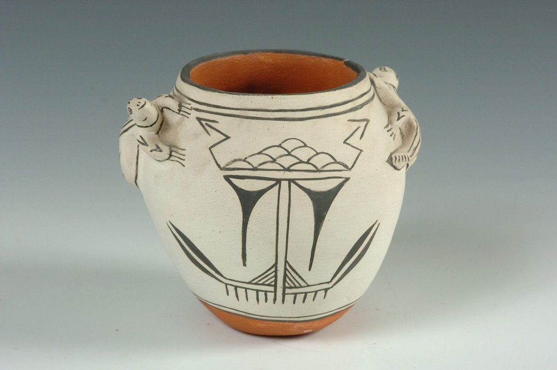 COCHITI POTTERY POTTERY WITH EFFIGIES, SIGNED FELIPA T.