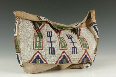 CIRCA 1890 SIOUX BEADED SADDLE BAG