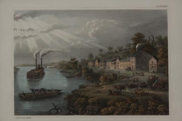 HAND COLORED ENGRAVING 'THE TOWN OF KANSAS' 1854