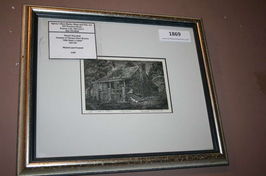 DUARD MARSHALL PENCIL SIGNED ENGRAVING 'OLD MATT'S CABI
