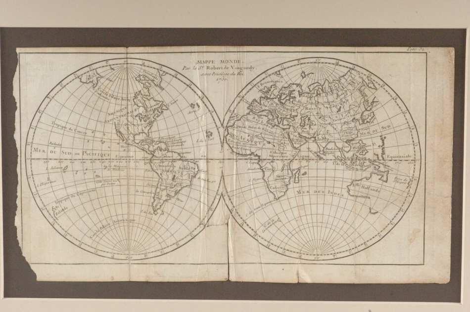 TWIN HEMISPHERE MAP OF THE WORLD 1750