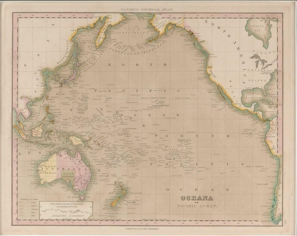 1843 MAP OF OCEANA BY H.S. TRUMAN, PHILADELPHIA