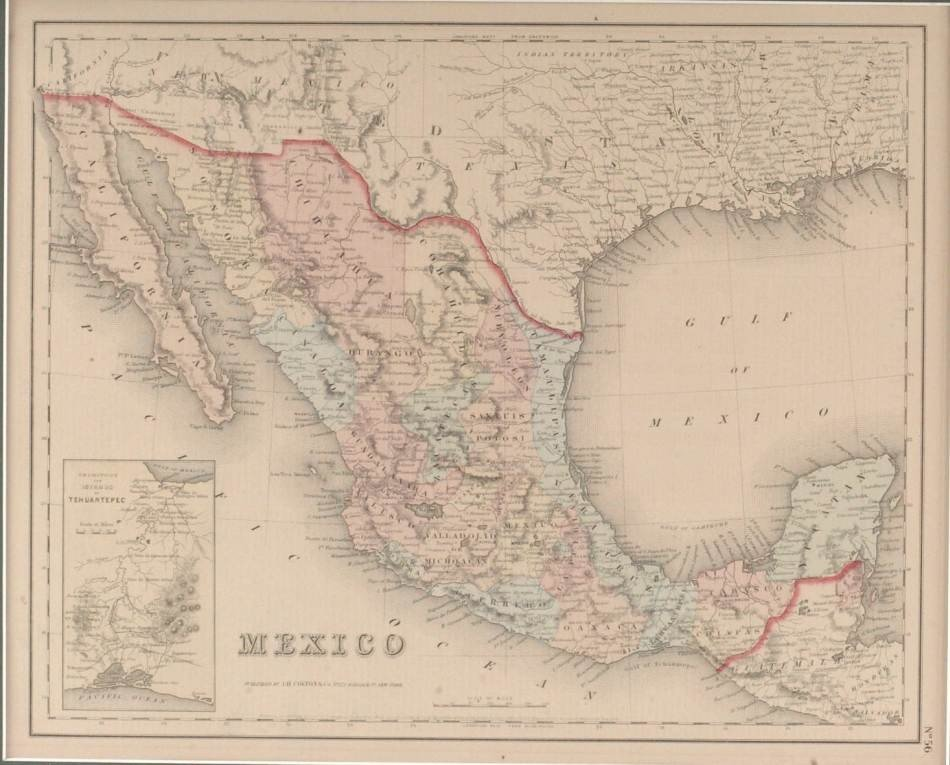 1855 MAP OF MEXICO BY J.H. COLTON