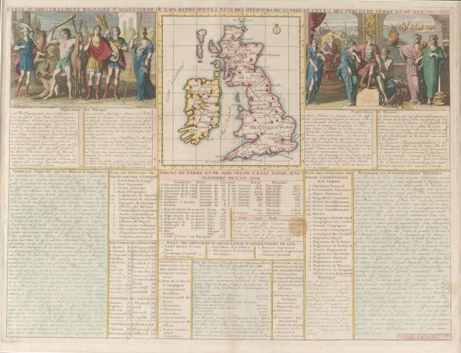 FRENCH CHART OF THE ENGLISH ARMED FORCES IN 1704