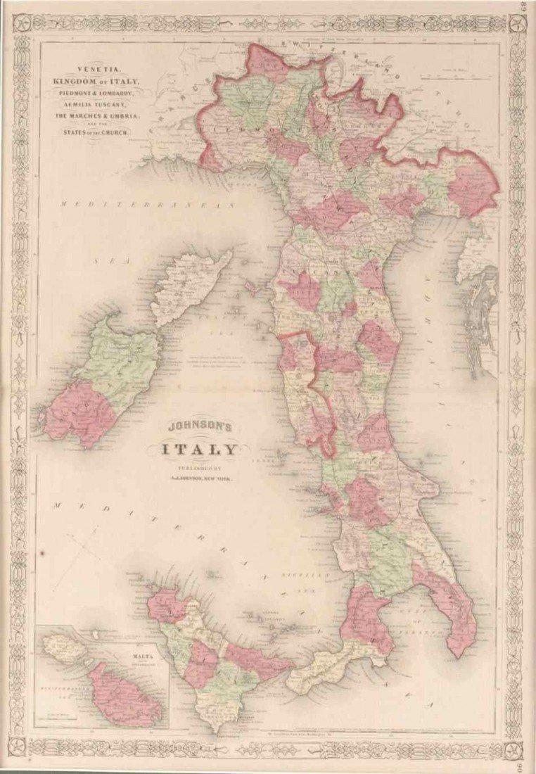 1863 JOHNSON'S MAP OF ITALY