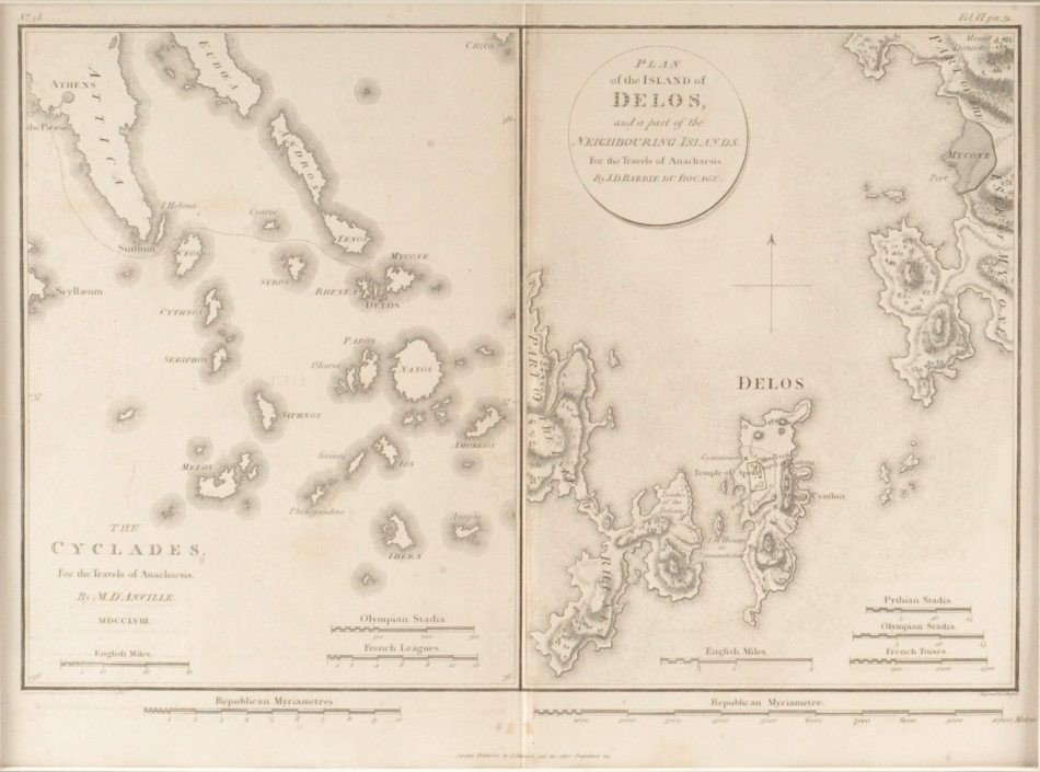 TWO 1817 MAPS OF GREECE, TRAVELS OF ANARCHARSIS