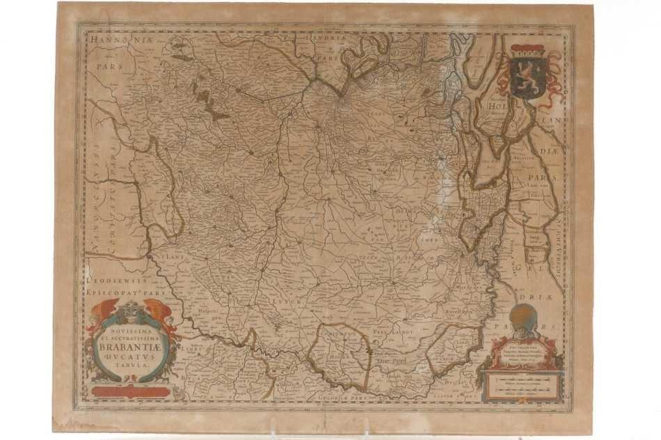 A 1629 MAP OF BRABANT, BELGIUM BY HENRICUS HONDIUS