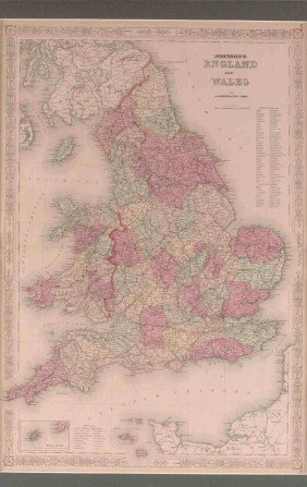 AN 1864 A.J. JOHNSON MAP OF ENGLAND AND WALES