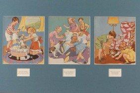 TWELVE CARTOON PRINTS IN MATS, 1930'S AND 1940'S