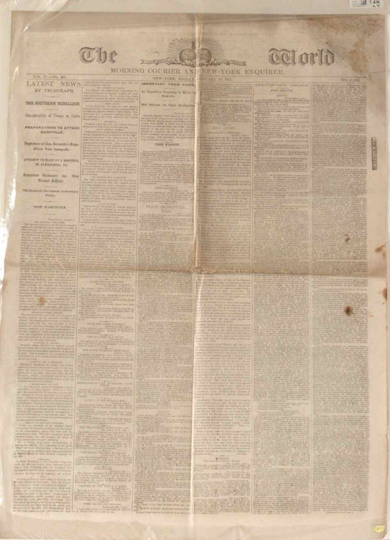 FOUR CIVIL WAR ERA ISSUES OF THE WORLD NEWSPAPER 1862