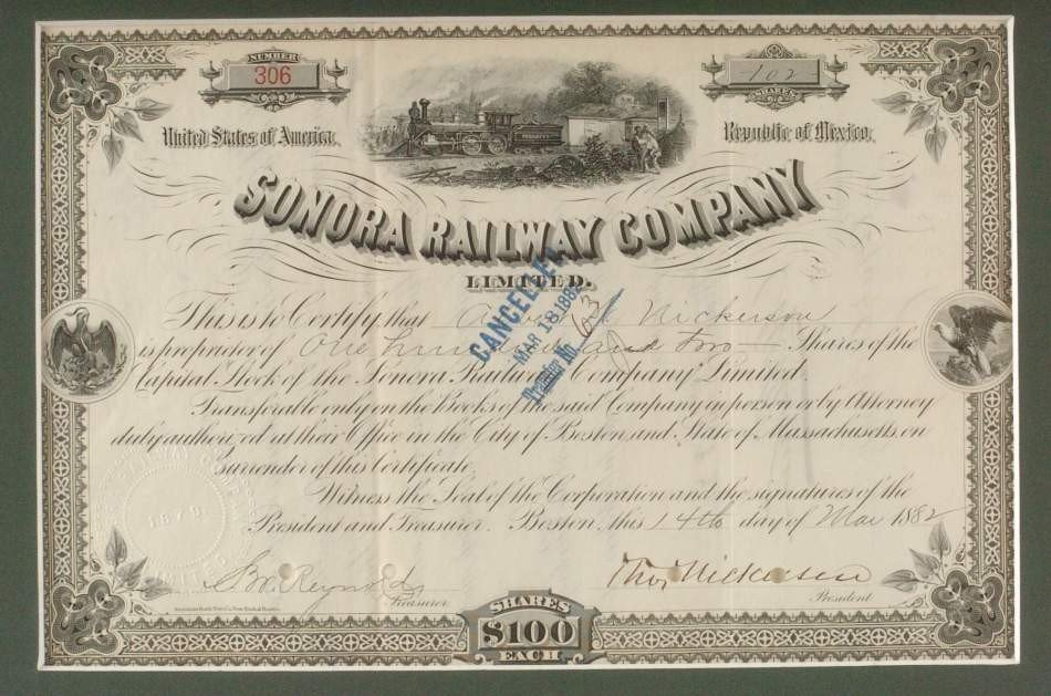 THREE RAILWAY COMPANY SHARE CERTIFICATES, 1800'S