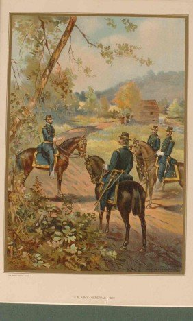 FOUR 19TH CENTURY LITHOGRAPHS OF ARMY UNIFORMS