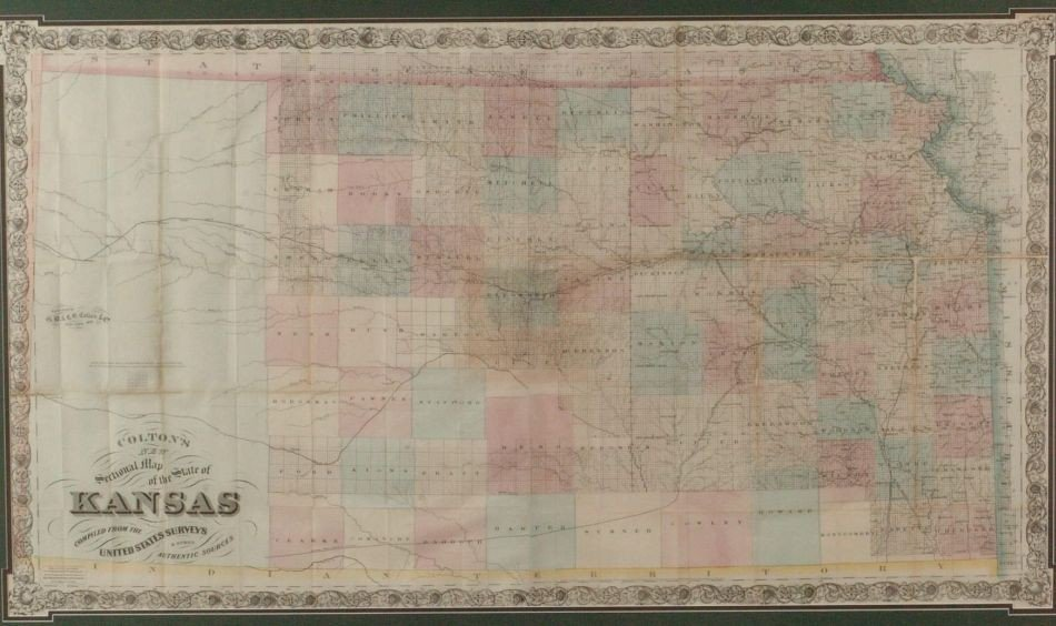 G.W. AND C.B. COLTON SECTIONAL MAP OF KANSAS, 1869