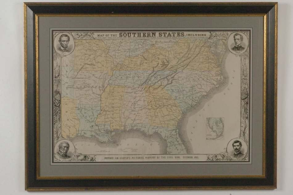 HARPER'S MAP OF THE SOUTHERN STATES 1883