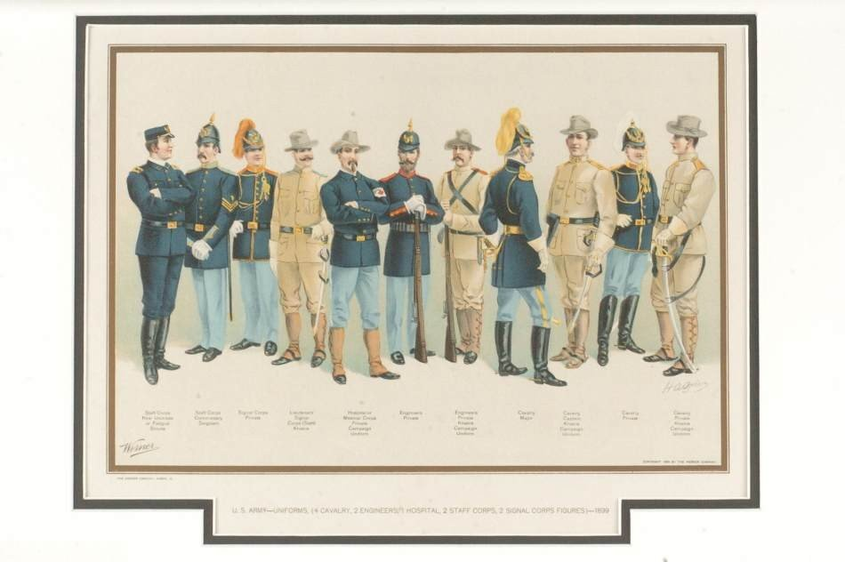 ARCHIVE OF SIX WERNER US ARMY UNIFORM LITHOGRAPHS, 1899