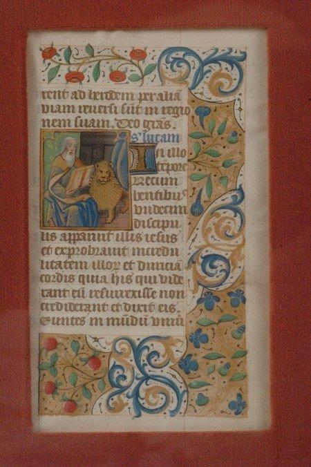 BOOK OF HOURS ILLUMINATED MANUSCRIPT LEAF, CIRCA 1480