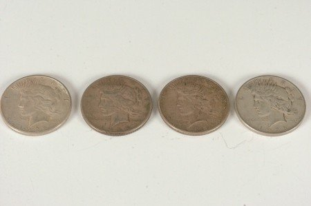 3: LOT OF FOUR PEACE SILVER DOLLARS