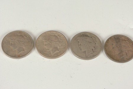 13: LOT OF FOUR PEACE SILVER DOLLARS