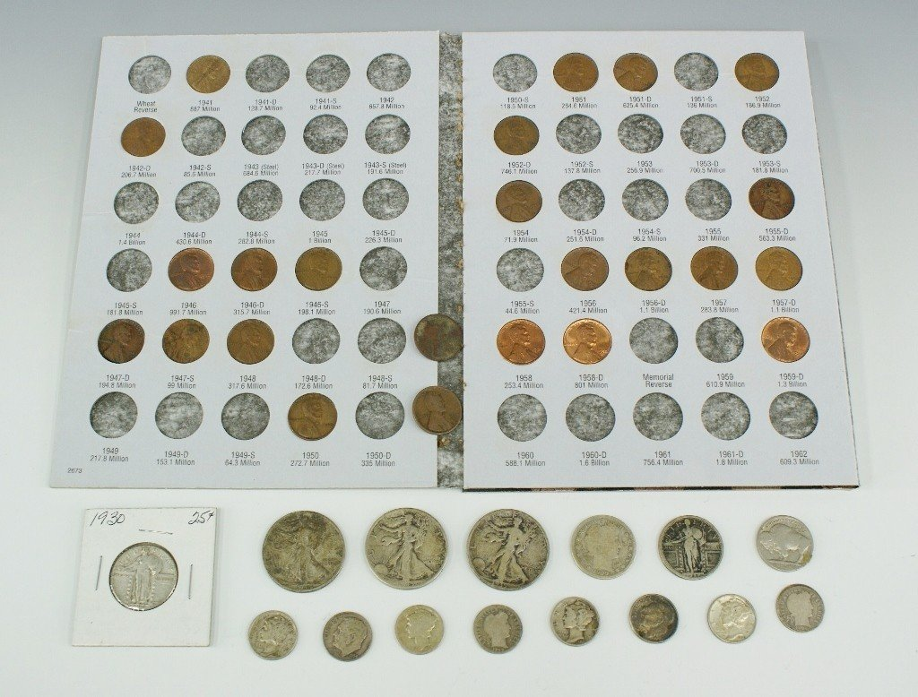 22: LOT OF VARIOUS U.S. PRE-1964 COINAGE