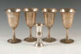 FOUR WALLACE STERLING SILVER GOBLETS