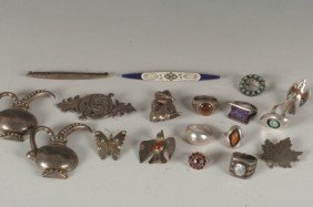 LOT OF MEXICAN STERLING SILVER JEWELRY, PINS & RING
