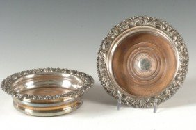 PAIR OF OLD SHEFFIELD PLATE WINE COASTERS